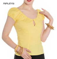 Hell Bunny Shirt Gypsy Top MELISSA 50s Plain  Summer Yellow All Sizes