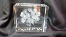 Bordo smussato VETRO LASER 3D Blocco FERMACARTE: 80th Compleanno-Rose