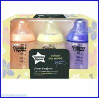 NEW Tommee Tippee Colour My World Hawaii 3 x 260ml Newborn Baby Feeding Bottles