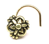 Asian Nose Stud, Antique gold finish nose ring, corkscrew piercing ring l bend