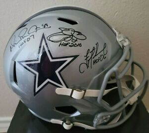 Emmitt Smith, Troy Aikman, Michael Irvin Signed Cowboys FS Helmet w/Inscrip HOLO