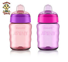 Avent My Easy Sippy Cups, 9 oz, 9m+, Pink & Purple, 2 Pack, BPA Free