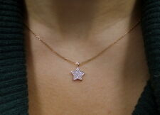 STAR NECKLACE WITH DIAMONDS 14K ROSE GOLD 0.20CT SI 1 CLARITY G COLOR