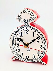 Anthropologie Tick Tock Clock MOLLY HATCH white red ceramic VHTF