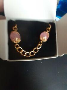 "Avon Genuine Rose Quartz Chain Bracelet Large 8"" NEW IN BOX 1992"