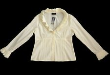 Principles Smart Cream 1970's style Ruffled Fitted Tailored Shirt Blouse Top 14