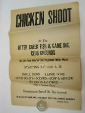 Chicken Shoot Vermont Otter Creek Fish & Game Club Sign Poster Vergennes Vtg Old