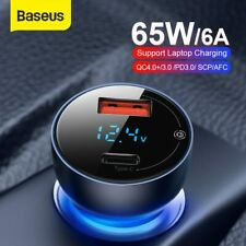 Baseus 65W USB Type C Car Charger QC4.0 Quick Charge Charger for iPhone Samsung