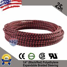 """25 FT 1/4"""" Black Red Expandable Wire Sleeving Sheathing Braided Loom Tubing US"""