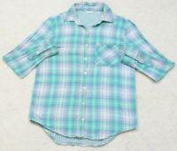 Aeropostale Blue White Dress Shirt Woman's Long Sleeve Cotton Top XS Extra Small