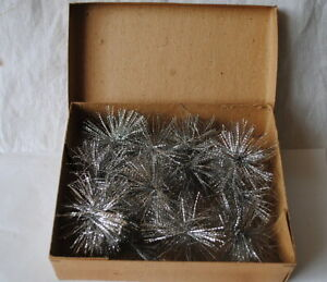 1 box with each 12 old German tinsel stars, x-mas ornaments