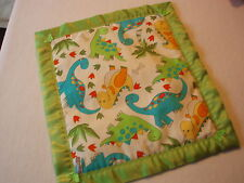 Handmade Baby Bedding Dinosaurs Cover-Lime Green Satin Binding Crib/Pram