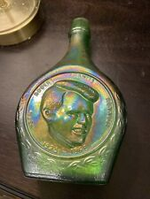 Vintage Commemorative Carnival Green Glass Bottle Robert Kennedy Wheaton GlassNj