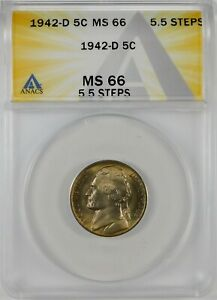 1942-D 5c Jefferson Silver War Nickel Coin ANACS MS66 **5.5 Full Steps**