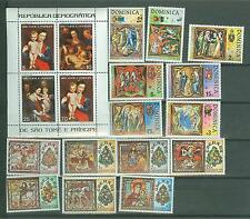 WORLD WIDE GROUP OF STAMPS & SOUVENIR SHEETS COMMEMORATING CHRISTMAS MINT NH