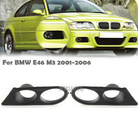 Black ABS Fog Lamp Light Bezel Ham Style Bumper Covers For BMW E46 M3 2001-2006