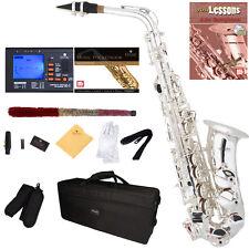 Mendini Silver Plated Eb Alto Saxophone Sax +Tuner+Book+Case+CareKit ~MAS-30S