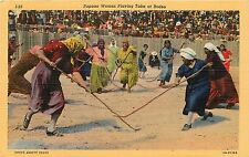 Linen Postcard Native American Papago Women Playing Taka at Rodeo, Unposted