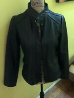 Womens A.N.A BLACK Lambskin Leather MOTO RIDING CAFE RACER ZIP Jacket WOMENS S