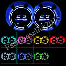 2PCS for Chevrolet LED Car Cup Holder Pad Mat Auto Atmosphere Lights Colorful