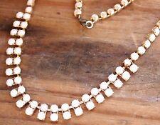 "Vintage Necklace White Glass 1960s 15"" Long Jewellery Retro Beads Bridal Ladies"