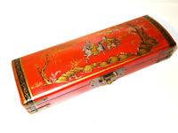 Chinesische Schatulle China Asiatika Holz Box Kiste Reiter Landschaft 28,5x9,5x5