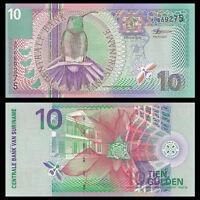 Suriname 10 Gulden Banknote, 2000, P-147, Bird, UNC, North America Paper Money