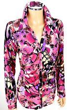 CACHE Snaps Blouse SIZE X-LARGE XL Pink Multi Floral Print Stretch Shirt Top