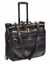Real Leather Suit Carrier on Wheels Travel Weekend Bag Hol13 Garment Bag Black