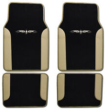 4PCS Set BDK Car Carpet Floor Mats Black Beige Extra Thick Carpet & Backing