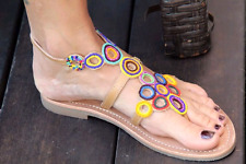 LES TROPEZIENNES Leather Sandals with Colorful Beads Size 6 us=36 Europ  NEW