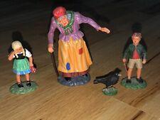 Vintage ELASTOLIN Composition Hansel and Gretel Set No Box Witch Figures Toys