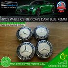 4x Mercedes Benz Wheel Center Caps Dark Blue Emblem 75MM AMG Wreath Hubcaps Set