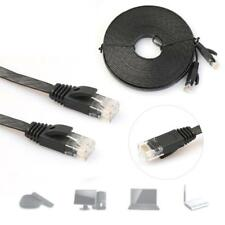 5M FLAT RJ45 CAT6 Ethernet Network LAN Cable Flat UTP Patch Router - Black UP