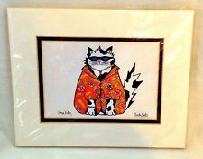 Hawaiian Print Cat signed art Cindy Coats Kona Kitty shirt sunglasses Aloha Fun