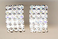 """925 Sterling Silver Clear Cubic Zirconia Large Stud Earrings  Length 5/8"""" x 2/5"""""""
