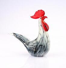"New 8"" Large Hand Blown Art Glass Rooster Chicken Bird Figurine Sculpture Statue"