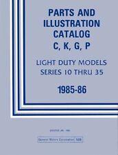 1985 1986 Chevrolet GMC Truck Parts Numbers Book List Guide Catalog Interchange