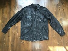 Deadstock Men's Black Leather Overshirt Jacket Worn Distressed Look Size XL
