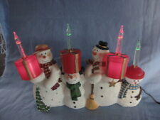 Ceramic Snowmen(4) 1 Piece Figure- Holding Bubbling Lights- Mint In Box