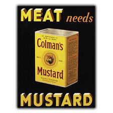Colman's Senape Metallo Segno Piastra a parete cucina retrò vintage, stampa pubblicità decor
