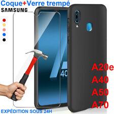 Coque Samsung A70 A50 A40 A20e A10 Housse AntiChoc Case Noir+ Film Verre Trempé
