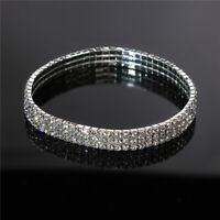 Women Summer Elastic Bracelet Three Rows Faux Diamond Crystal Lady Accessory G