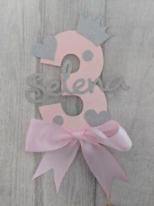 Personalised girls third birthday number third cake topper pink Girl 3 princess