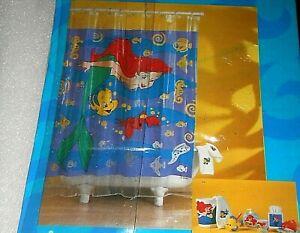 New Unopened Disney Little Mermaid Ariel and Friends Shower Curtain Vinyl