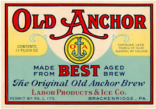 Prohibition Labor Products & Ice Co Old Anchor Brew Bottle Label Brackenridge Pa