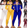 Women's Striped Velvet Zippers Hooded Sweashirt Activewear Pants Sport Suit Set