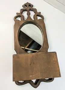 """Ornate Wooden Antique Wall Hanging Mirror With Brush Box 30""""x 11""""W"""