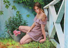 ORIGINAL OIL CANVAS  FEMALE PAINTING ART BY ARTIST IGORGREY