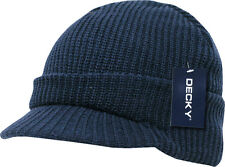 Navy Blue GI Jeep Cap Knit Beanie Winter Hat Radar Military Tactical Brim